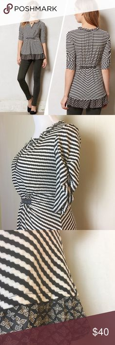 One September striped top Sweet black and white striped top with gathered waist in front and back and contrasting chiffon pattern trim giving it a peplum look. Ruched quarter sleeves. Excellent like new condition. Anthropologie Tops