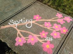 Happy Spring. Cherry Blossoms. Sidewalk Chalk.