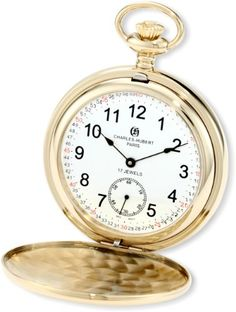 Charles-Hubert, Paris 3907-GRR Premium Collection Gold-Plated Stainless Steel Polished Finish Double Hunter Case Mechanical Pocket Watch -- Click on the image for additional details.