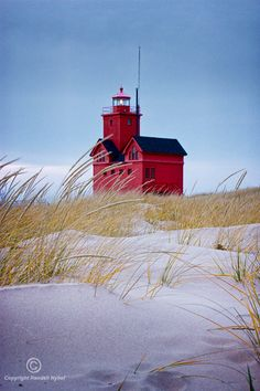Big Red Lighthouse and Sand Dune Grass by Ottawa Beach State Park in Holland Michigan - A Lighthouse Seascape Vertical Photograph Michigan State Parks, Lake Michigan, Michigan Usa, Vacation Destinations, Vacation Trips, Holland Michigan, Free Travel, Travel Tips, Great Lakes