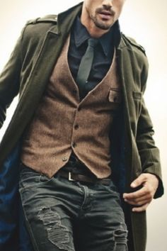 Winter coat & waistcoat combo, Nice natural colours, love the green, not sure about the jeans.