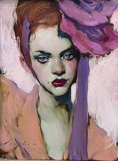 """Pink Flower by Malcolm Liepke, 2011. Malcolm Liepke, known as """"Skip,"""" has become a well-known American artist despite dropping out of the revered Art Center College of Design in California. He now lives in New York. In my opinion, this portrait slightly resembles Rihanna. Whoever the model is, she is beautiful. Does anyone know anything about her?"""