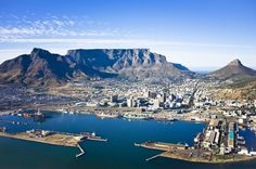 Cape Town Harbour and Table Mountain. Aerial view of Cape Town city centre, with , Nelson Mandela, Safari, Table Mountain Cape Town, Virgin Holidays, National Botanical Gardens, Cape Town South Africa, Africa Travel, Aerial View, Day Trip