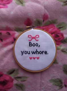 Boo, You Whore Mean Girls Cross Stitch. $14.99, via Etsy.
