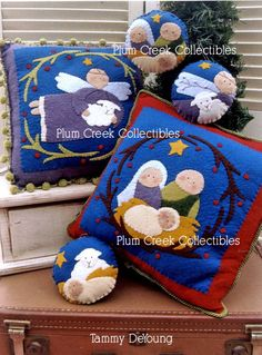 Christmas Nativity Pattern for felt pillows and ornaments.  Angel, baby Jesus, Mary, Joseph.