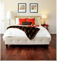 I think I need a lighter colored bed (currently mahogany) maybe upholstered lik Dream Rooms, Dream Bedroom, Master Bedroom, Bedroom Retreat, Bedroom Decor, Bedroom Ideas, Color Caoba, Bedroom Flooring, My Room
