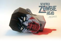 Severed Zombie Head Paper Toy - Free 3D Paper Crafts