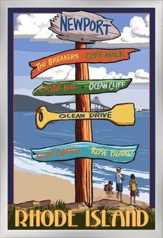 Newport, Rhode Island - Destinations Sign - Lantern Press Artwork (24x36 Giclee Art Print, Gallery Framed, Silver Wood), Multi