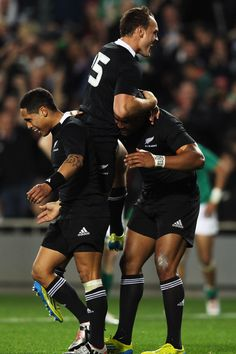 Israel Dagg and Julian Savea Photos - Julian Savea of the All Blacks celebrates with Israel Dagg and Aaron Smith after scoring a try during the International Test Match between the New Zealand All Blacks and Ireland at Eden Park on June 9, 2012 in Auckland, New Zealand. - New Zealand v Ireland