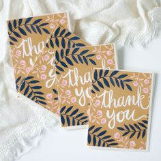 """Say 'Thank You' in style. Card measures 4.25 x 5.5"""". Blank inside. This listing is for one individual card."""