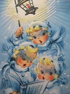 Vintage Greeting Card 'Noel' Christmas Angels