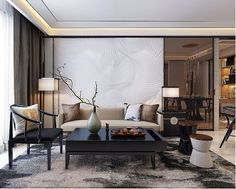 Modern room and interior design. Clean lines and muted soft colors, white, gray, black, and brown rooms. South Shore Decorating Blog.