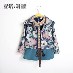 2014 the spring and autumn period and the female children cotton denim jacket baby girl pure cotton jacket European and American wind cardigan on EdithJewelry.com
