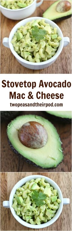 Stovetop Avocado Mac and Cheese Recipe on twopeasandtheirpod.com This is the BEST macaroni and cheese recipe! It is made on the stovetop and the avocado make is SO creamy and delicious!