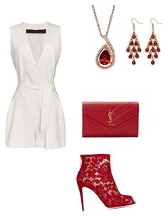 """White & Red"" by norajox-kim ❤ liked on Polyvore featuring Dolce&Gabbana, Martin Grant, Yves Saint Laurent, Lord & Taylor, Palm Beach Jewelry, white, red and Random"