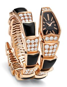 Pink gold Serpenti watch with diamond and onyx links and black mother-of-pearl and diamond dial