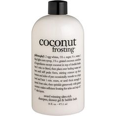 philosophy 'coconut frosting' shampoo, shower gel & bubble bath from Nordstrom. Saved to Epic Wishlist. Philosophy Products, Coconut Frosting, Body Cleanser, Body Treatments, Smell Good, Shower Gel, Body Wash, Bath And Body, Bubbles