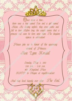 Once Upon a Time Princess Baby Shower Custom by topsandbottles, $14.00