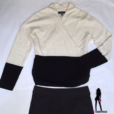 Black and White Cashmere Surplice Sweater  XL From Saks Fifth Avenue, exquisite black and white 100% Cashmere surplice top cashmere sweater. Pull over. Understated elegance. Size XL Saks Fifth Avenue Sweaters V-Necks