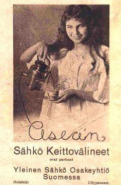 Mainos: Asean sähkökeittovälineet/1923 Vintage Advertisements, Vintage Ads, Helsinki, Art Deco Fashion, Finland, Emoji, Nostalgia, Old Things, Advertising