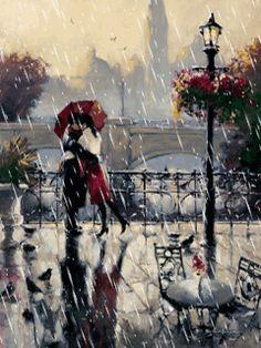 In the rain..