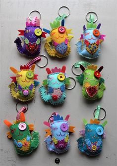 Patchyz - Dragon multi colour original collectable hand key chain designed by Kathleen Flask