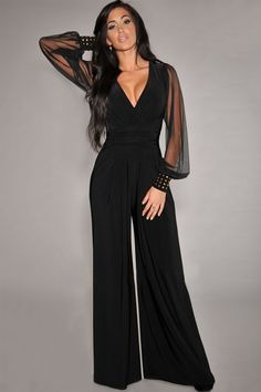 One-piece perfection, slip on this excellent jumpsuit for chic night-out style with an attitude. Its sexy wrap-neck is balanced by a retro-inspired wide leg for an always-flattering fit. Long mesh sle