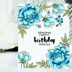 A little bit of masking while stamping does wonders - Altenew Peony Bouquet 1-layer Birthday card