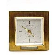Seth Thomas Square Thermometer 7 Jewels Brass Alarm Clock Mid Century... ($23) ❤ liked on Polyvore featuring home, home decor, clocks, brass home decor, brass clock, brass alarm clock, brass home accessories and square clock