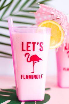 'LET'S FLAMINGLE' GLASS FLAMINGO STICKERS  | SHOP NOW | bespoke-bride.com |