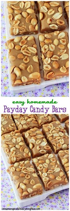 Homemade payday candy bars made of sticky-sweet, gooey caramel balanced by the crunch of a thousand salty peanuts.