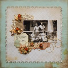 Home ~ beautiful pearl stud scrolls and dimensional flowers embellish a simply designed heritage page.