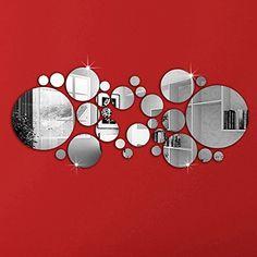 OMGAI Round Mirror Setting Wall Sticker Decal Home Decora…