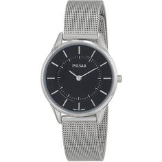 Pulsar Women's PTA501X Stainless Steel Watch with Mesh Strap (130 SAR) ❤ liked on Polyvore featuring jewelry, watches, water resistant watches, crown jewelry, stainless steel wrist watch, pulsar watches and slim watches