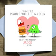 Him Her Personalised Handmade RHUBARB TO MY CUSTARD Funny Anniversary Card