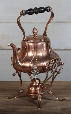 Antique Copper Tea Kettle with Warmer | Culinary Antiques | Inessa Stewart's Antiques