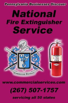 National Fire Extinguisher Service Pennsylvania PA (267) 507-1757.. Local Businesses Discover the Commercial Advantage.. We're Commercial Services.. The Source for Local Pennsylvania Businesses with Multiple Locations!