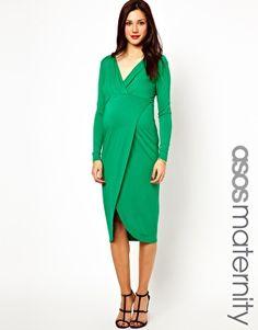 Image 1 ofASOS Maternity Midi Dress With Wrap Skirt