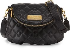 $328, Black Quilted Leather Crossbody Bag: Marc by Marc Jacobs New Q Quilted Natasha Crossbody Bag Black. Sold by Neiman Marcus. Click for more info: https://lookastic.com/women/shop_items/139949/redirect