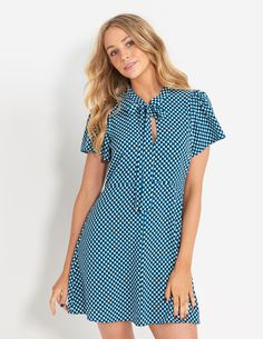 Image for Geo Tie Neck A-Line Dress from Dotti