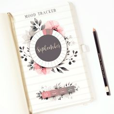 PRINTABLE Monthly Mood Tracker with Watercolors and Silver hand lettering in a Wheel Form. 31 sections for each days of the month.  You can divide and color the legend box by how many mood you want to track.