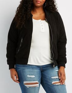 Charlotte Russe Plus Size Sherpa Bomber Jacket