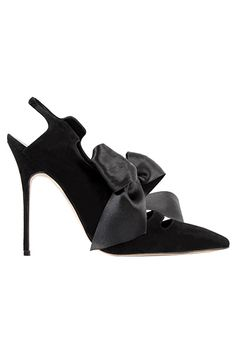 Manolo Blahnik Black Bow Stiletto Slingback Pumps Fall-Winter 2013 #Manolos #Shoes