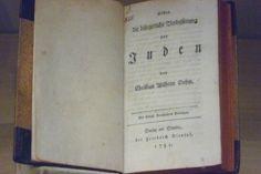 On the Civil Improvement of the Jews. Christian Wilhelm Dohm. Berlin. 1781. (Deutsche Historisches Museum)  Available at http://ds.ub.uni-bielefeld.de/viewer/image/91953/1/LOG_0000/