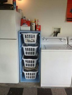DIY Laundry Sorter with triple plastic basket for dirty clothes storage ideas Laundry Sorter, Laundry Room Organization, Organizing, Laundry Storage, Toy Storage, Bathroom Storage, Laundry Stand, Laundry Cart, Clothes Storage
