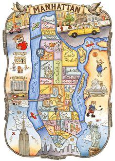 "Mappa di New York City Manhattan arte stampa 11 ""x 14"""