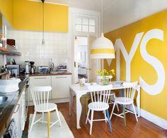 bold yellow and white kitchen