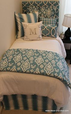 Custom dorm bedding packages from Cute dorm room bedding sets complete with throw pillows, duvet cover, bed skirt, headboard and more. Each dorm xl bedding set is a full dorm room look! Dorm Bedding Sets, Teen Bedding, Quilt Bedding, White Bedding, Girls Bedroom, Bedroom Decor, Bedroom Ideas, Girl Dorms, Dorm Life