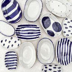 Bridget Bodenham ceramics blue and white ceramics Pottery Plates, Ceramic Pottery, Slab Pottery, Thrown Pottery, Pottery Painting, Ceramic Painting, Ceramic Clay, Ceramic Plates, Keramik Design