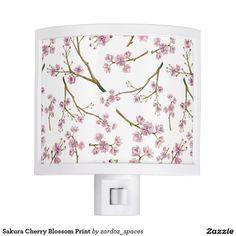 Sakura Cherry Blossom Print Night Light #sakura #cherryblossom #cherryblossoms #pattern #spring #summer #blossom  #nightlight